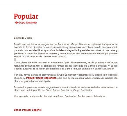 Carta Popular Santander Clientes Mediterraneo Diario16